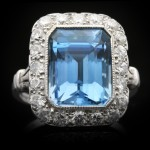 Tiffany & Co. aquamarine and diamond cluster ring, American, circa 1950.