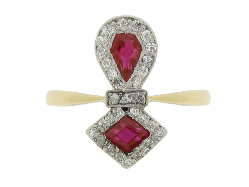 front view Edwardian ruby and diamond cluster ring, circa 1905.