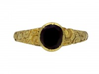 Early gold ring set with garnet hatton garden berganza