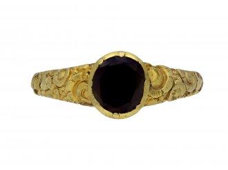 Early gold ring set with garnet hatton garden berganza