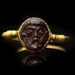 Roman gold cameo ring with face of Zeus, circa 1st - 2nd century AD.
