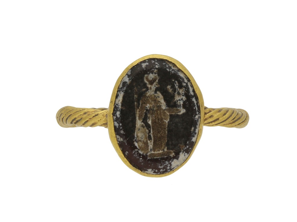 Roman gold ring with minerva intaglio berganza hatton garden
