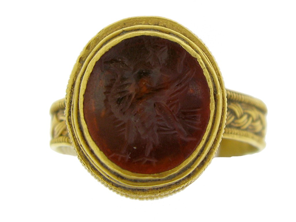 front view Roman gold finger ring with eagle intaglio, circa 3rd   4th century AD.