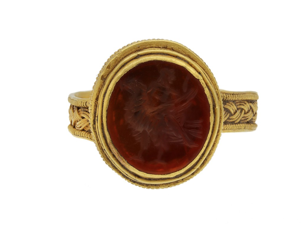Roman gold finger ring with eagle intaglio berganza hatton garden