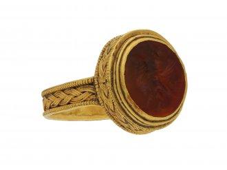 Roman gold finger ring with eagle intaglio berganza hatton garden