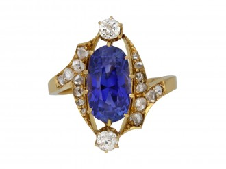 Antique Ceylon sapphire and diamond ring berganza hatton garden