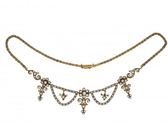 Victorian diamond and pearl necklace hatton garden
