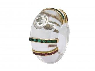 Rene Boivin diamond  ring rock crystal berganza hatton garden