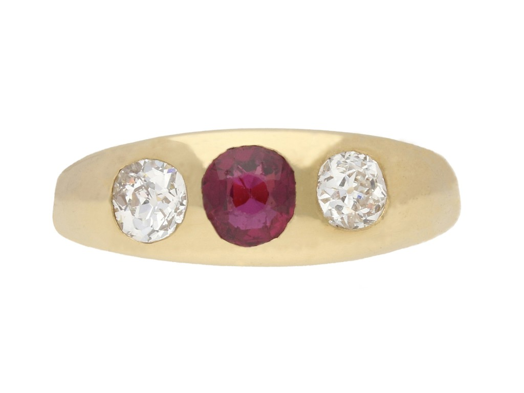 ruby diamond three stone ring antique Berganza Hatton garden