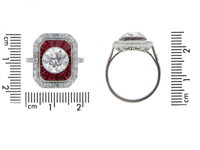 Antique ruby and diamond cluster ring,