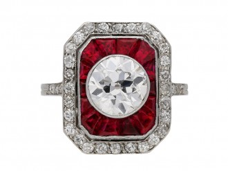 Antique ruby and diamond cluster ring, berganza hatton garden