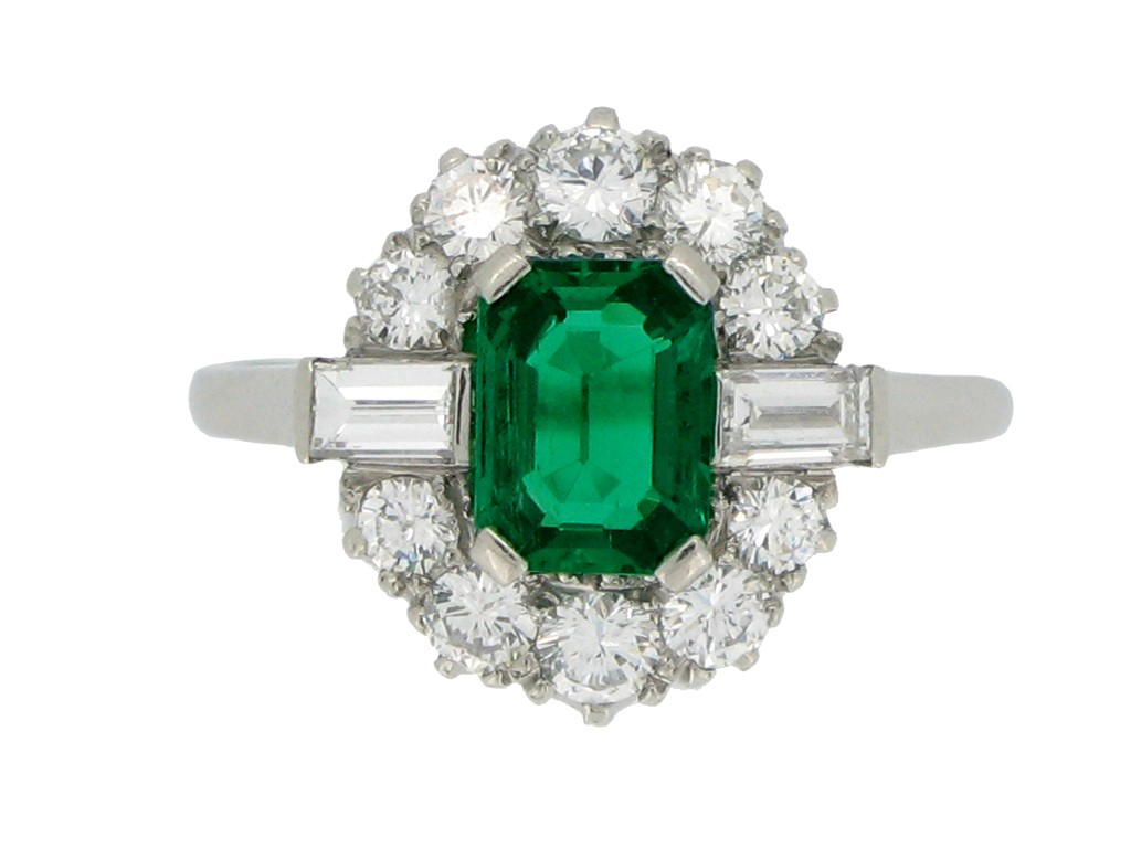 front view Vintage emerald and diamond coronet cluster ring