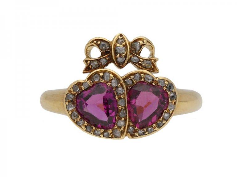 Victorian garnet diamond double heart ring berganza hatton garden