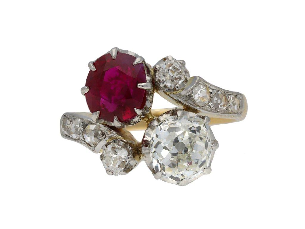 Ruby and diamond cross over ring berganza hatton garden