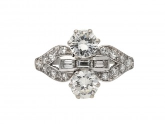 Art Deco two stone diamond cluster ring berganza hatton garden