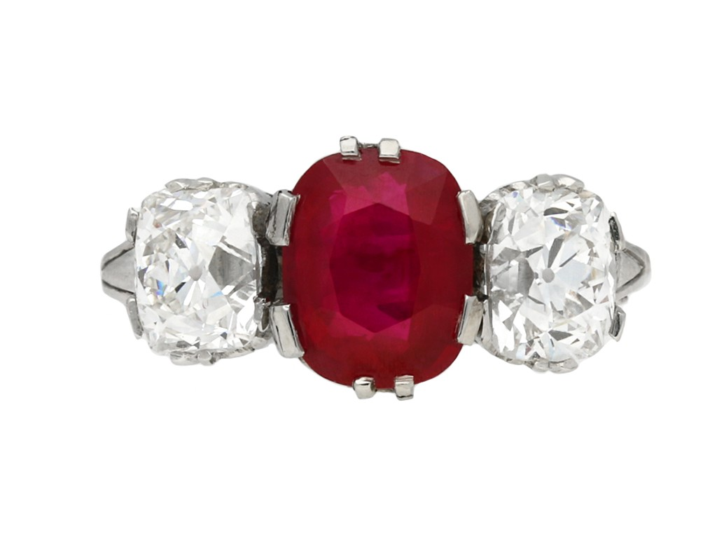 Burmese ruby diamond three stone ring berganza hatton garden