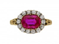 Burmese ruby and diamond cluster ring berganza hatton garden