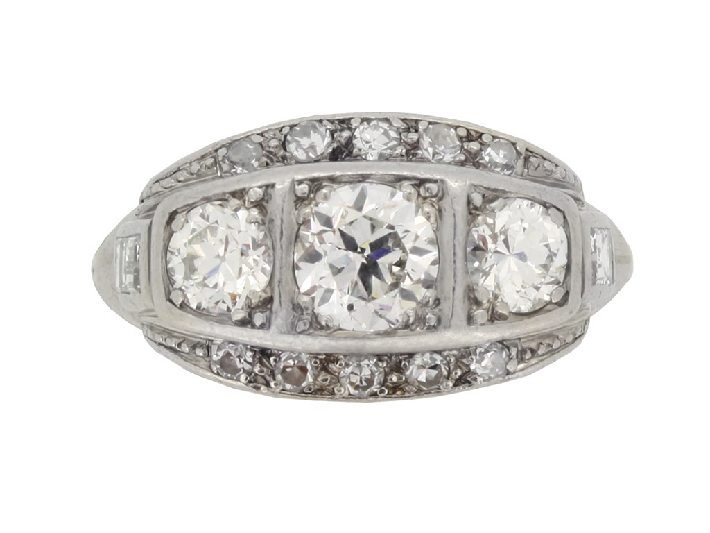 front view Diamond three stone cluster ring, circa 1930.