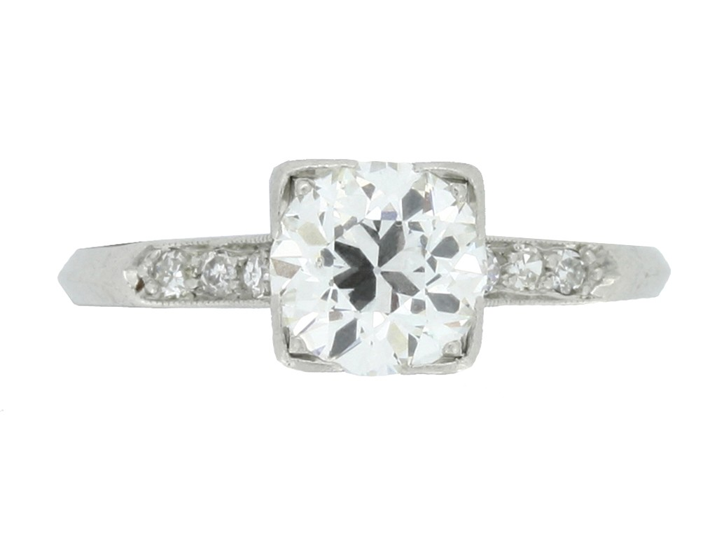 front view Solitaire diamond ring with diamond set shoulders