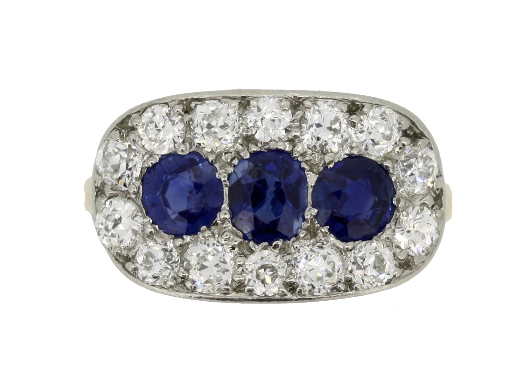 front view Antique sapphire and diamond triple cluster ring,