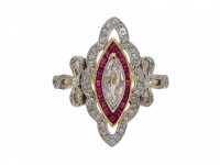 Belle Époque ruby and diamond cluster ring berganza hatton garden