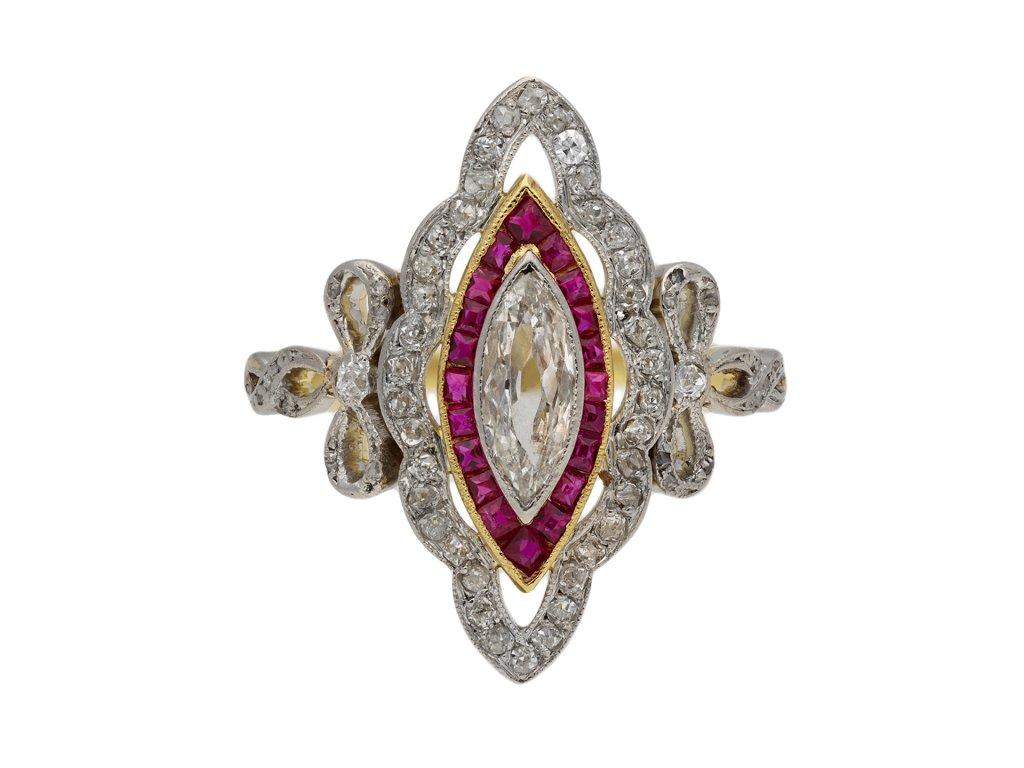 Belle Époque ruby and diamond cluster ring berganza hatton garden