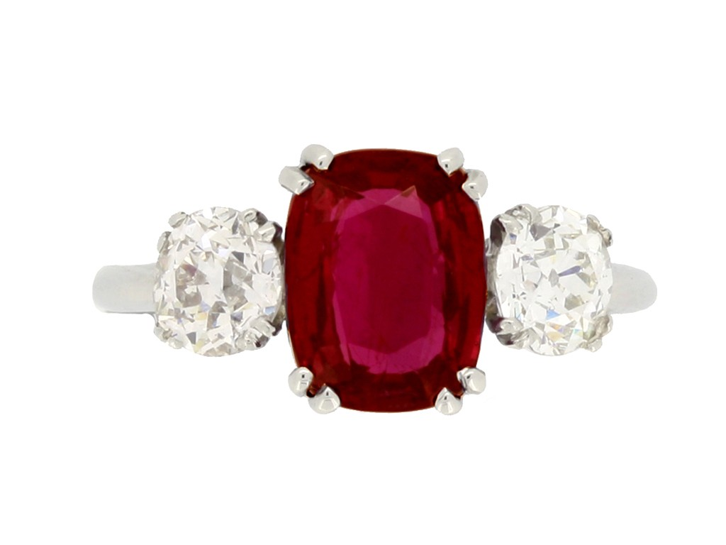 front view Ruby and diamond three stone ring, circa 1930.