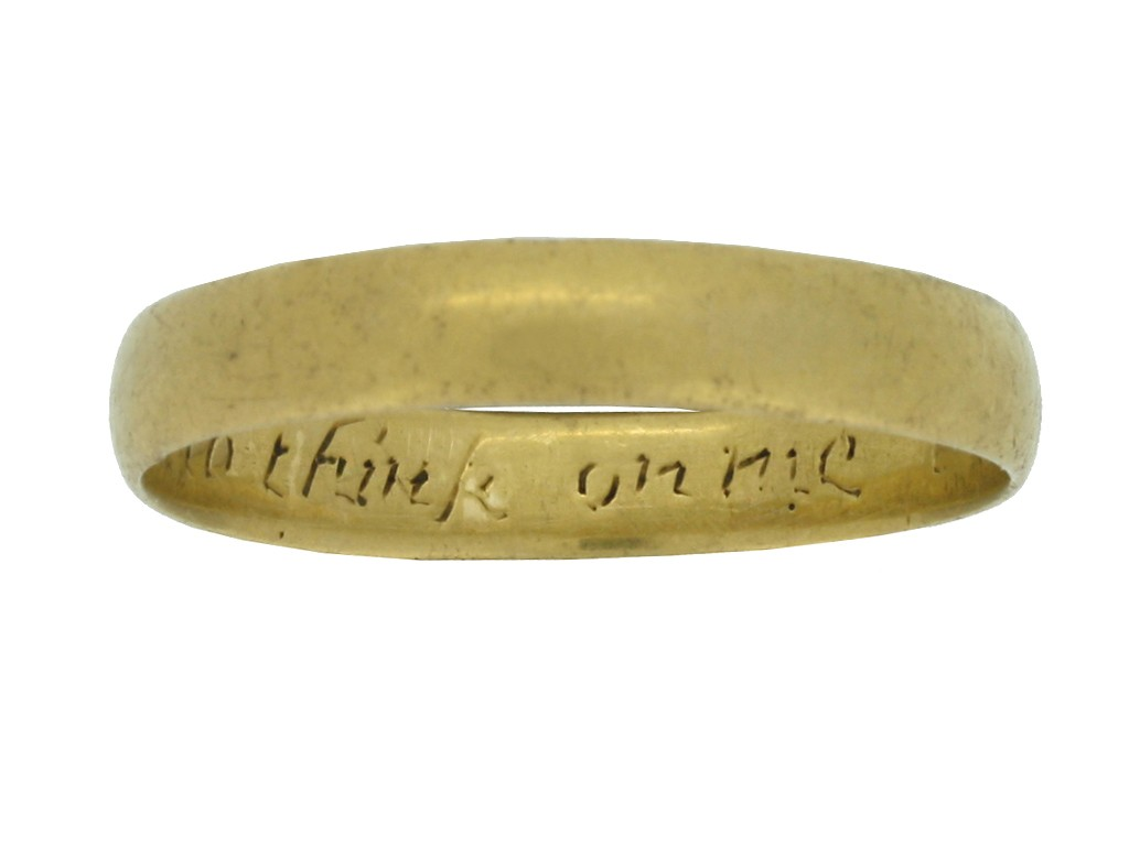 front view Gold posy ring, 'I give it thee to think on me',