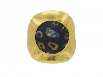 Early gold ring set with ancient mosaic glass hatton garden