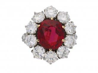 Vintage ruby diamond coronet cluster ring berganza hatton garden