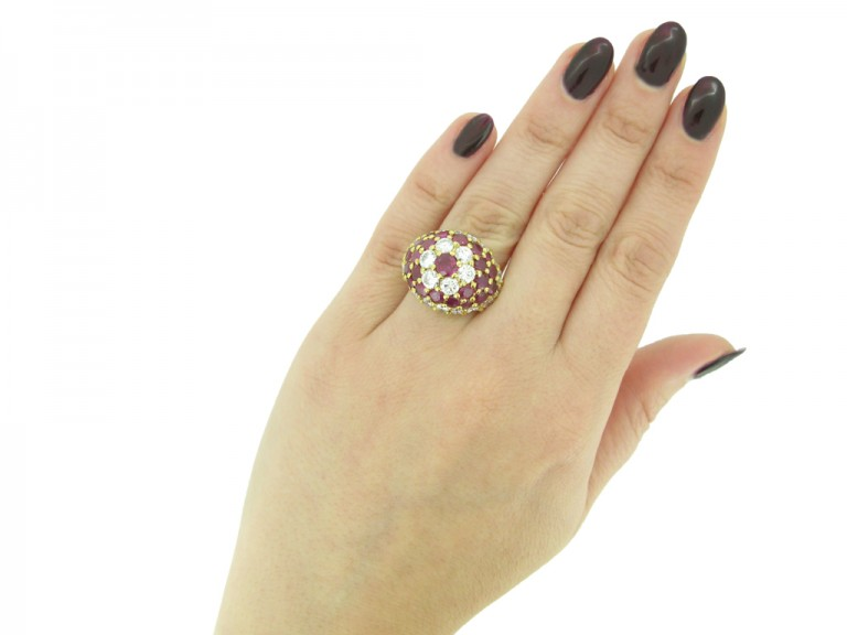 Fred ruby and diamond cluster ring berganza hatton garden