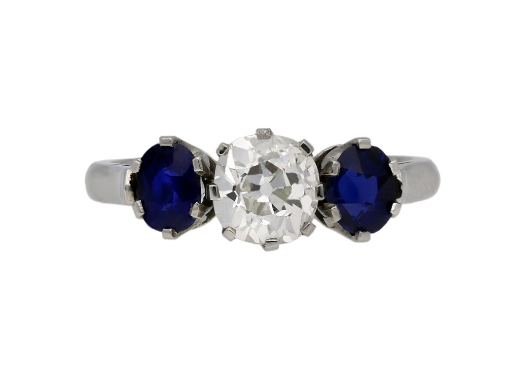 Diamond and sapphire three stone ring berganza hatton garden