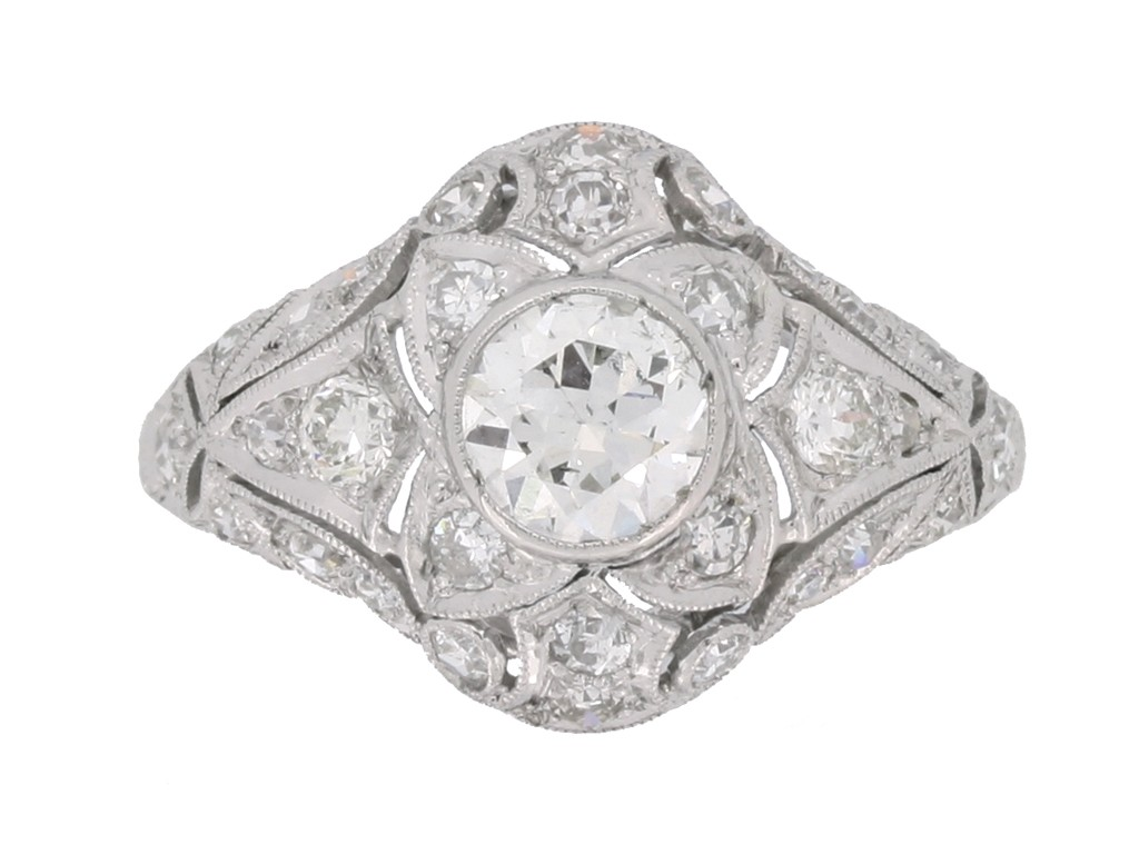front view Diamond cluster ring, circa 1925.