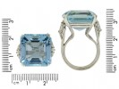 size view Aquamarine and diamond cocktail ring