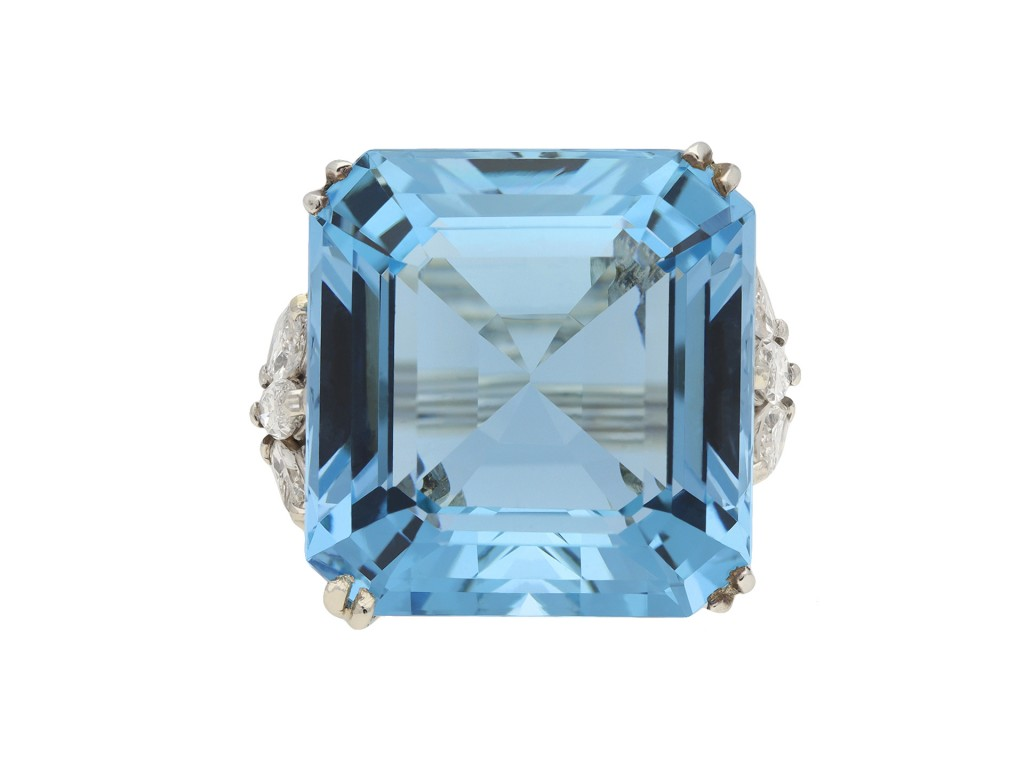 Aquamarine and diamond cocktail ring berganza hatton garden