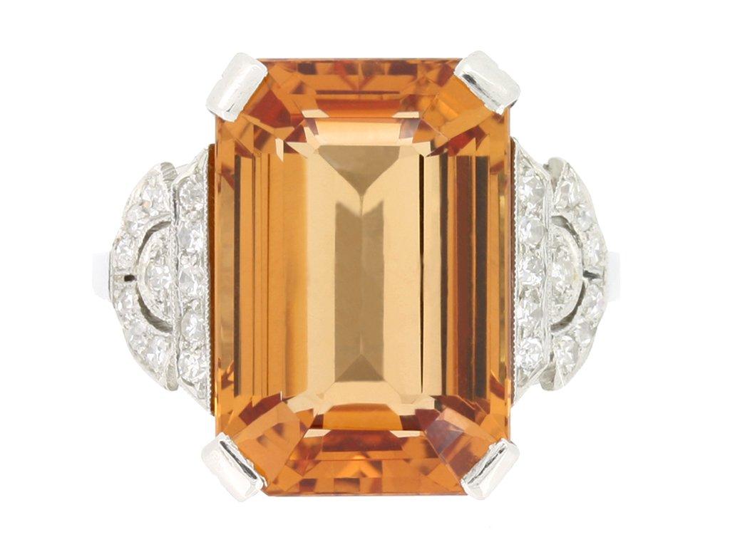 front view Art Deco Imperial precious topaz and diamond ring, circa 1930.