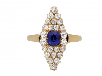 Antique sapphire and diamond cluster ring berganza hatton garden