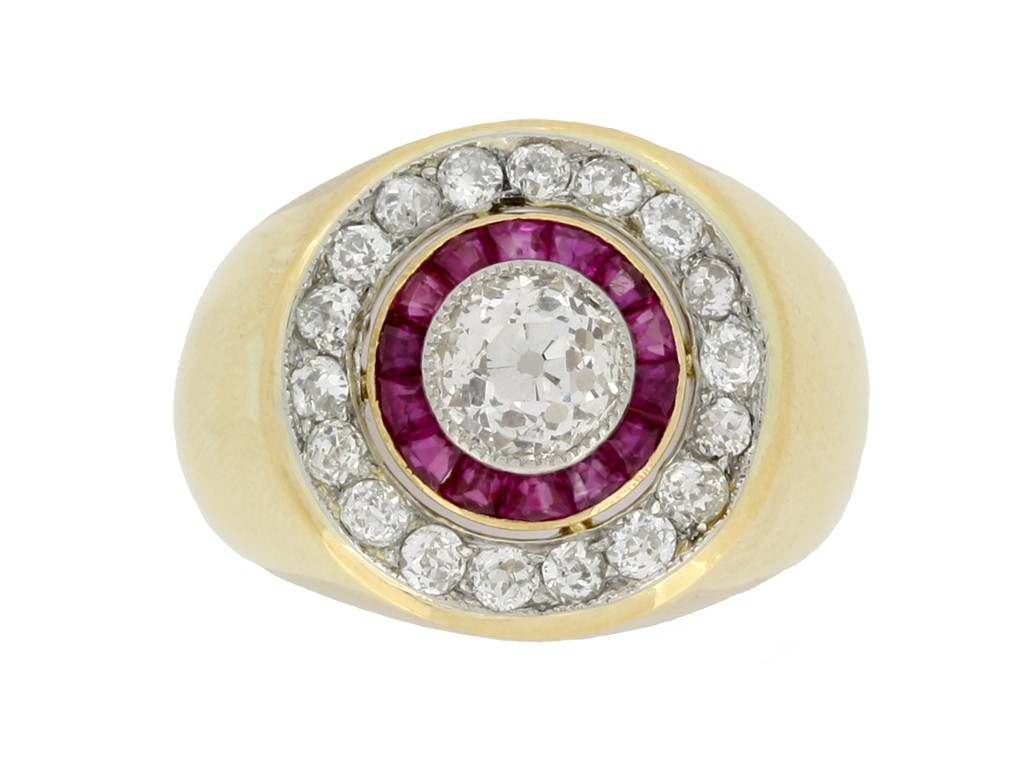 front view Ruby and diamond cluster ring, French, circa 1940.