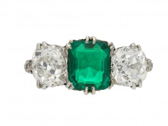 Colombian emerald diamond three stone ring berganza hatton garden