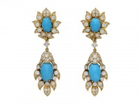 Vintage turquoise and diamond earrings berganza hatton garden
