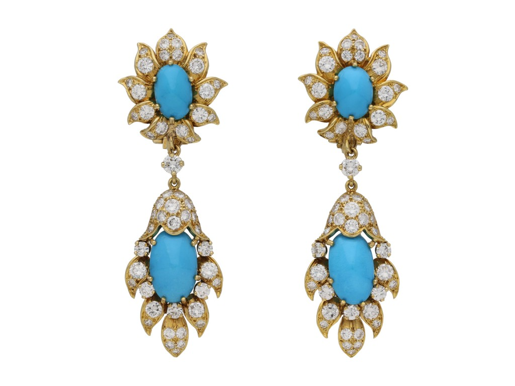 Vintage turquoise and diamond earrings berganza hatton garden