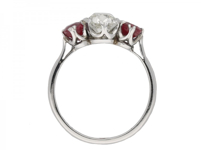 Diamond and ruby three stone ring berganza hatton garden