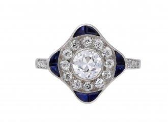 Diamond and sapphire cluster ring berganza hatton garden