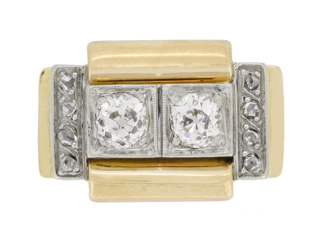 front view vintage diamond cocktail ring berganza hatton garden