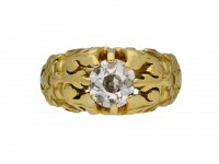 Gothic revival diamond solitaire carved ring berganza hatton garden