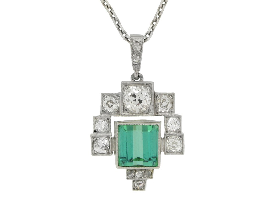 Art Deco tourmaline and diamond pendant berganza hatton garden