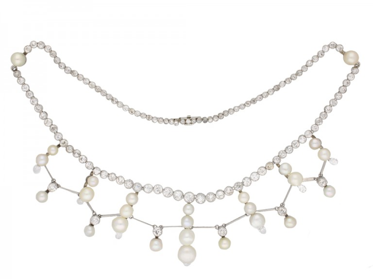 Natural pearl diamond tiara/necklace berganza hatton garden