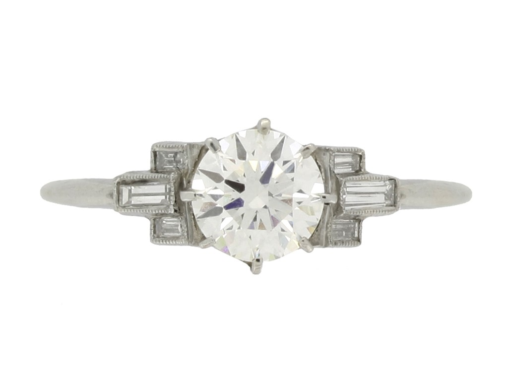front view Art Deco solitaire diamond ring