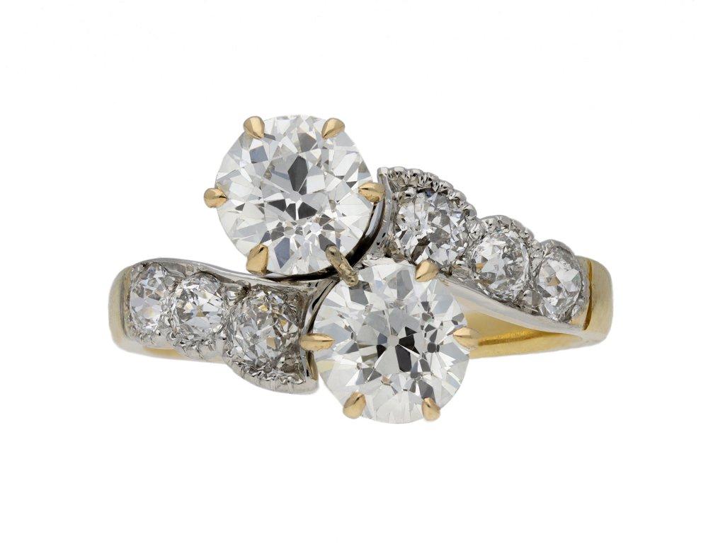 Edwardian diamond cross over ring berganza hatton garden