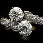 Edwardian diamond cross over ring, circa 1910.